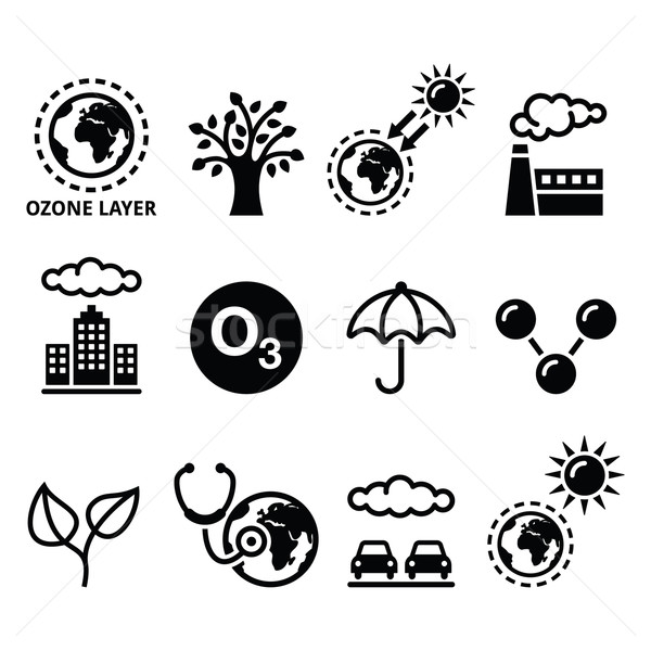 World ozone day, ecology, climate change icons set  Stock photo © RedKoala