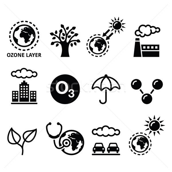 Wereld ozon dag ecologie klimaatverandering Stockfoto © RedKoala