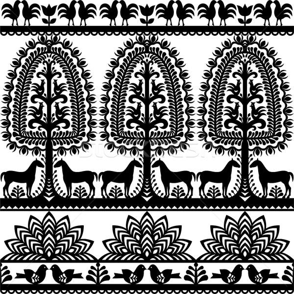 Seamless floral Polish folk art pattern Wycinanki Kurpiowskie - Kurpie Papercuts Stock photo © RedKoala