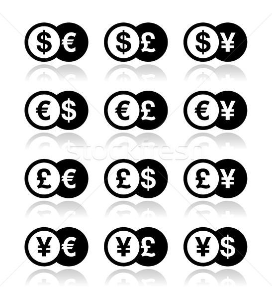 Currency exchange icons set - dollar, euro, yen, pound Stock photo © RedKoala