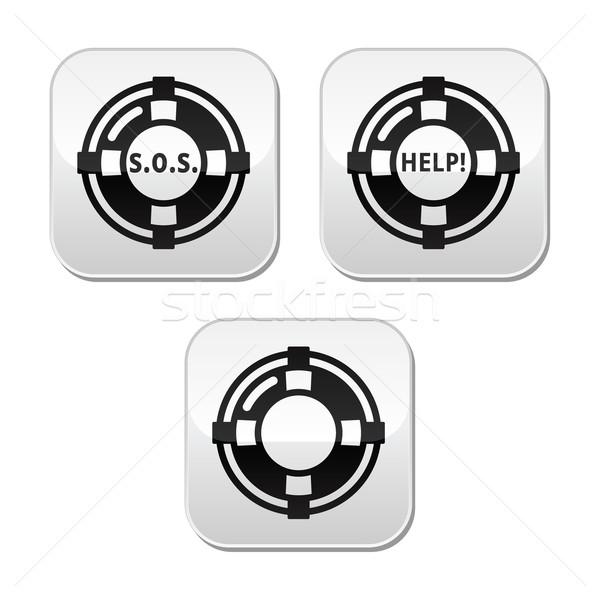 Life belt, help, s.o.s. vector buttons set Stock photo © RedKoala