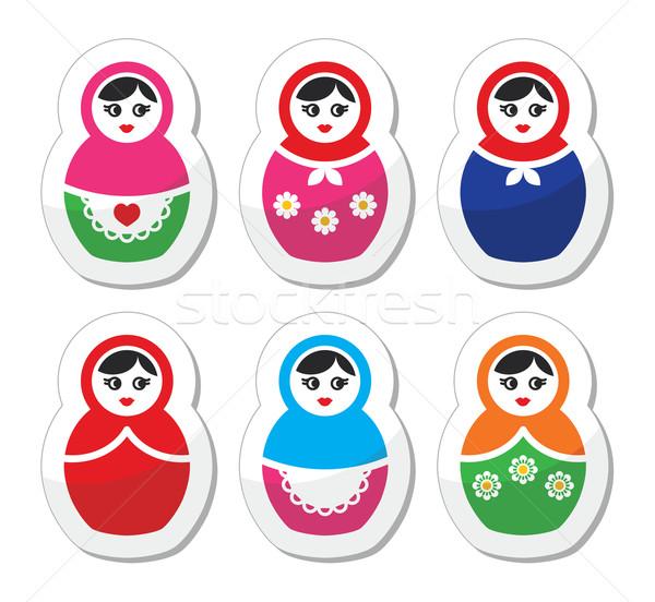 Russian doll, retro babushka vector icons set Stock photo © RedKoala
