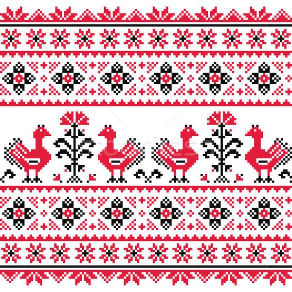 Ukrainian Slavic folk knitted red emboidery pattern with birds Stock photo © RedKoala