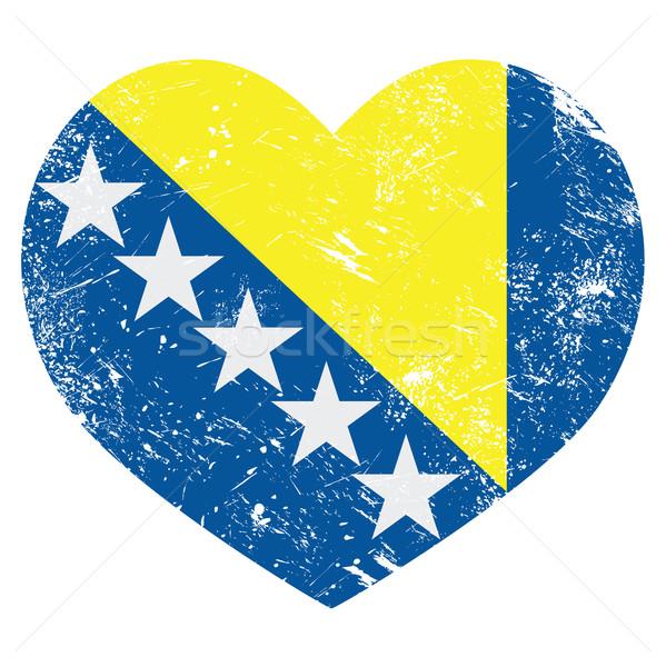 Bosnia Herzegovina retro corazón bandera vintage Foto stock © RedKoala