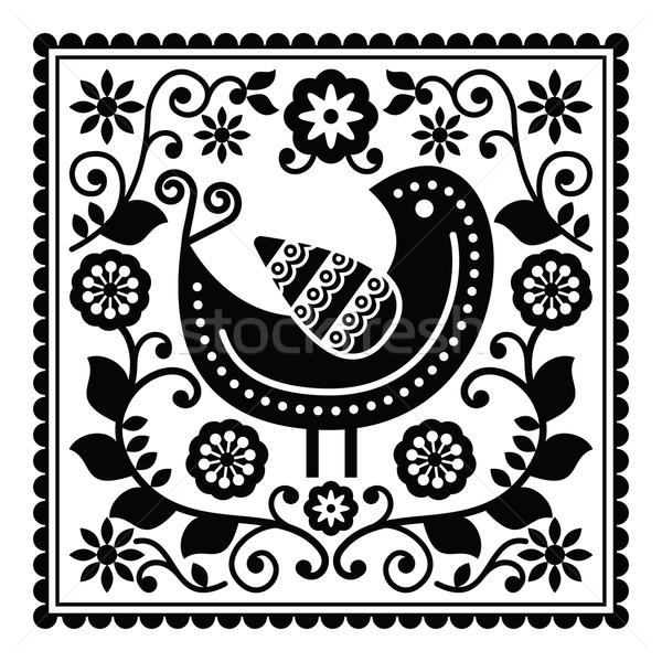 Folk art black pattern with bird and flowers Stock photo © RedKoala