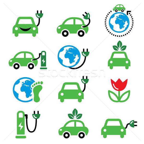 Auto elettrica verde eco trasporto vettore Foto d'archivio © RedKoala