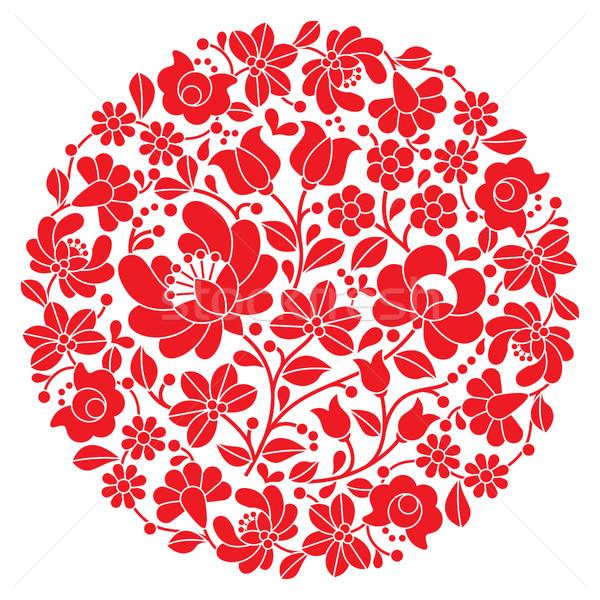 Kalocsai folk art embroidery - red Hungarian round floral folk pattern Stock photo © RedKoala