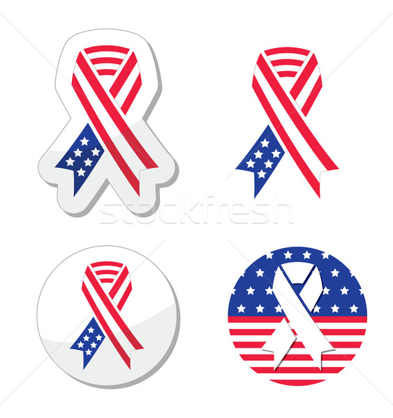 USA ribbon flag - symbol of patriotism, the victims and heros of the 9/11 attacks Stock photo © RedKoala