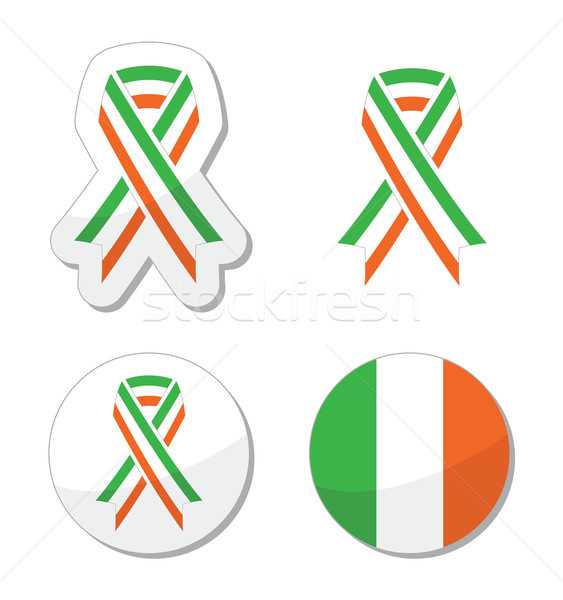 Irish ribbon flag labels - St Patricks Day celebration Stock photo © RedKoala