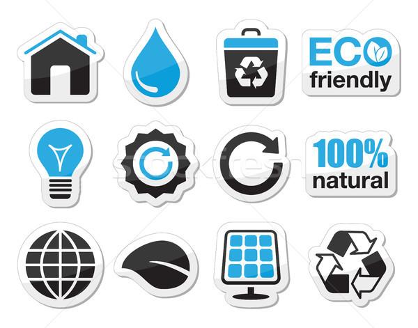 Stockfoto: Ecologie · groene · recycling · vector · zwarte