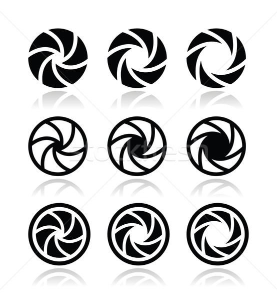 Camera shutter aperture vector icons set  Stock photo © RedKoala