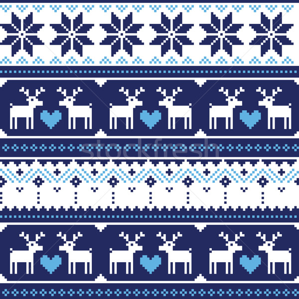 Gebreid herten winter Blauw vector Stockfoto © RedKoala