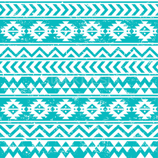 Aztec tribal seamless grunge white pattern on blue background Stock photo © RedKoala