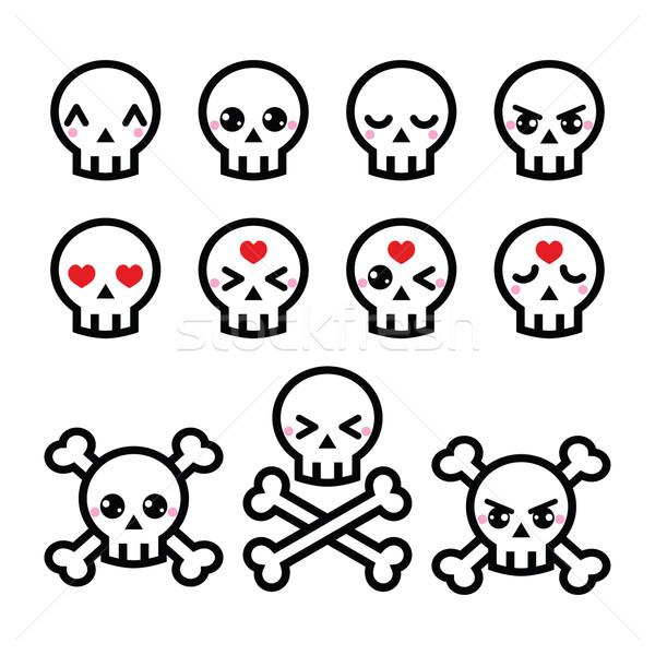 Kawaii cute halloween cráneo Foto stock © RedKoala