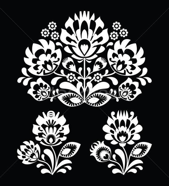 Polish floral folk white embroidery pattern on black background - wzory lowicki Stock photo © RedKoala