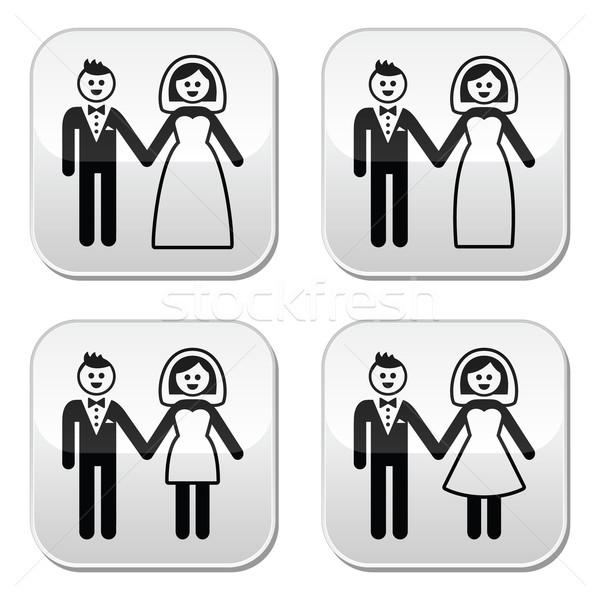 Bruiloft echtpaar bruid bruidegom knoppen ingesteld Stockfoto © RedKoala