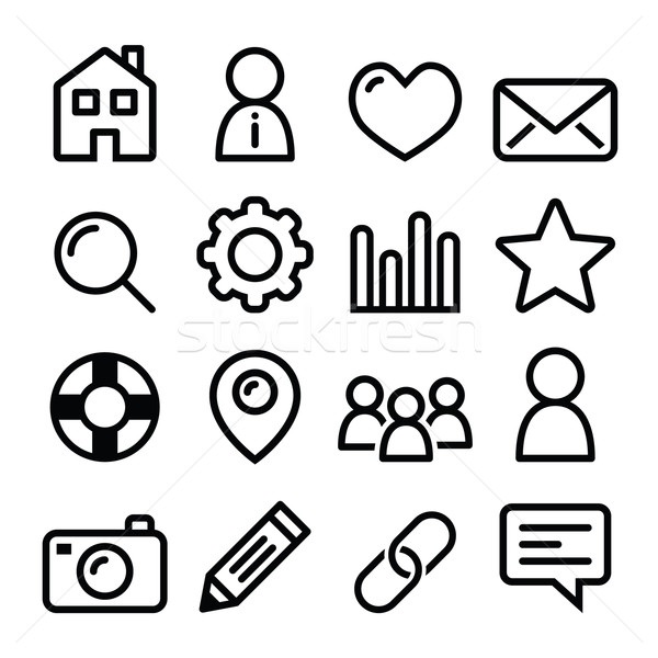 Website menu navigation line icons - home, search, email, gallery, blog Stock photo © RedKoala
