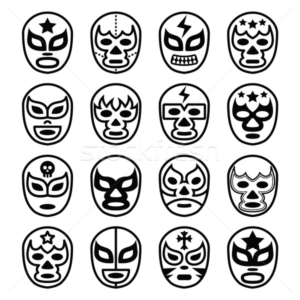 Stock photo: Lucha Libre Mexican wrestling masks - line black icons