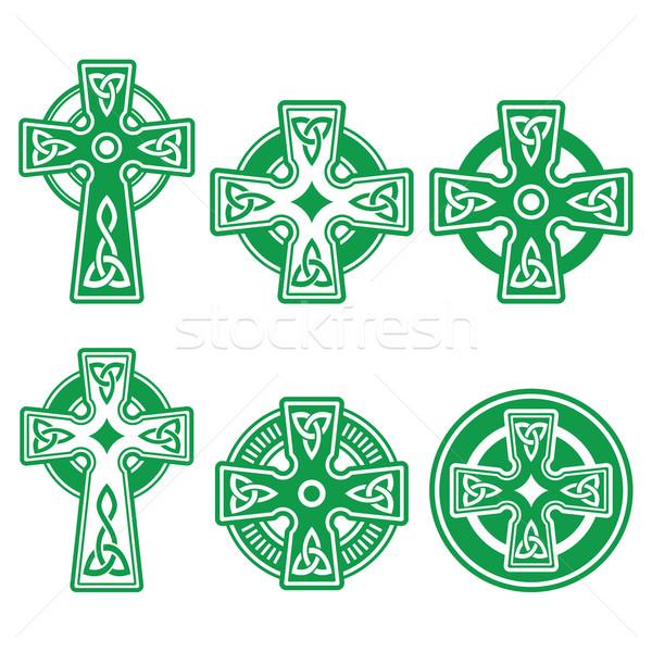 İrlandalı Kelt yeşil çapraz beyaz vektör Stok fotoğraf © RedKoala