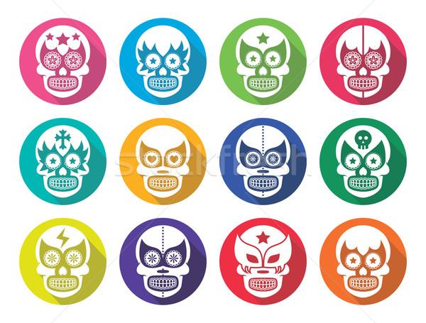 Lucha Libre - Mexican sugar skull masks flat design Stock photo © RedKoala