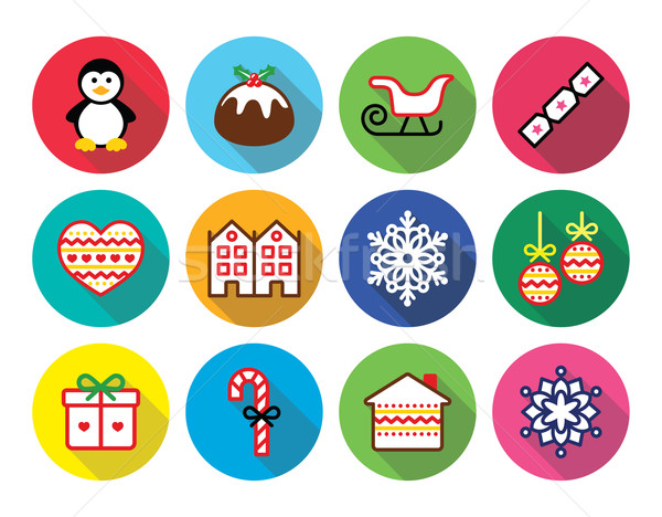 Stock photo: Christmas, winter flat design icons - penguin, Christmas pudding