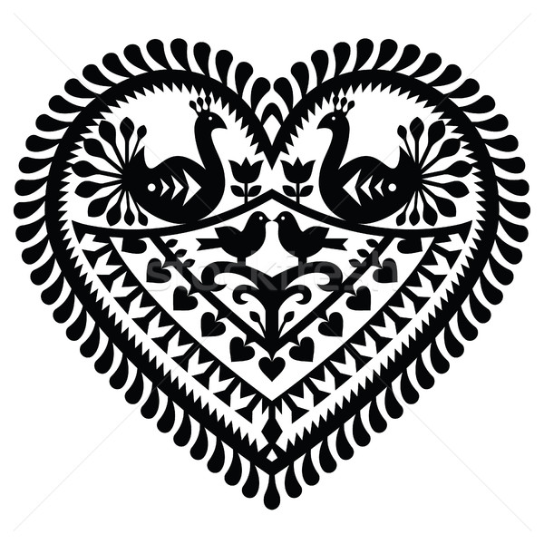 Polish folk art  heart pattern for Valentine's Day - Wycinanki Kurpiowskie (Kurpie Papercuts)  Stock photo © RedKoala