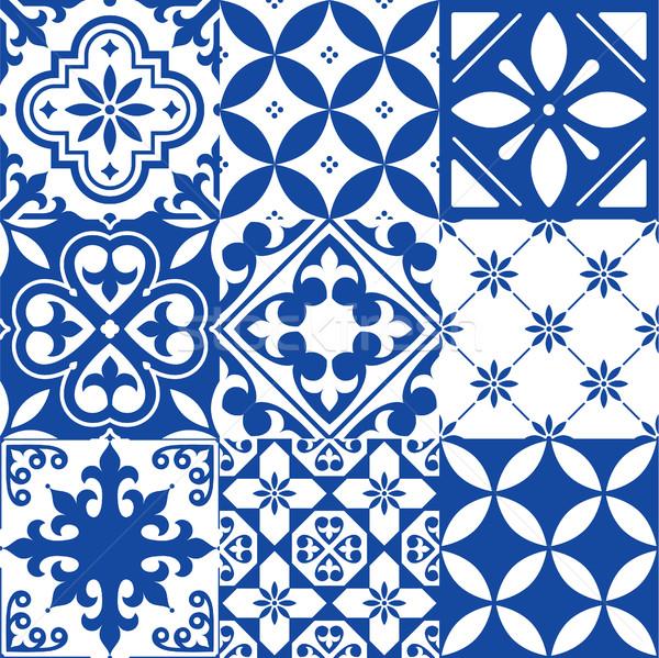 Espanhol azulejos projeto sem costura azul padrão Foto stock © RedKoala