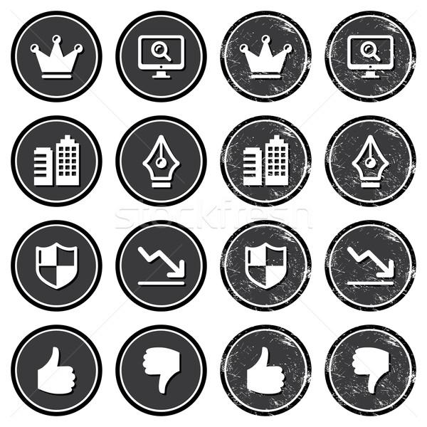 веб навигация иконки ретро Этикетки набор Сток-фото © RedKoala