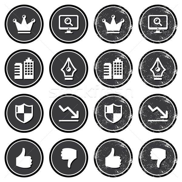Web navigation icons on retro labels set Stock photo © RedKoala