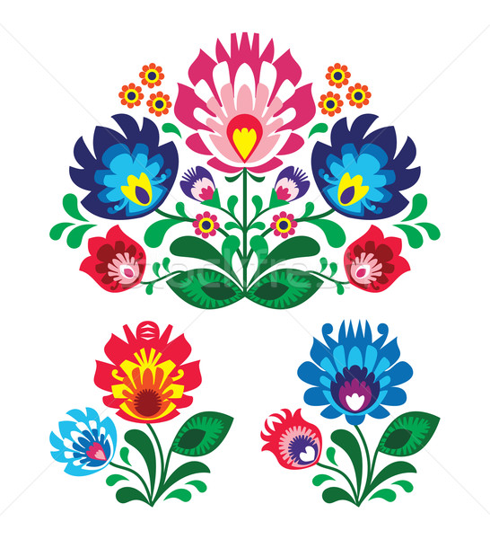Polish floral folk embroidery pattern Stock photo © RedKoala