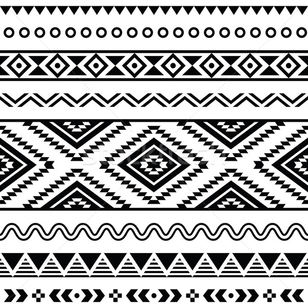 Tribal zwart wit vector naadloos ornament Stockfoto © RedKoala