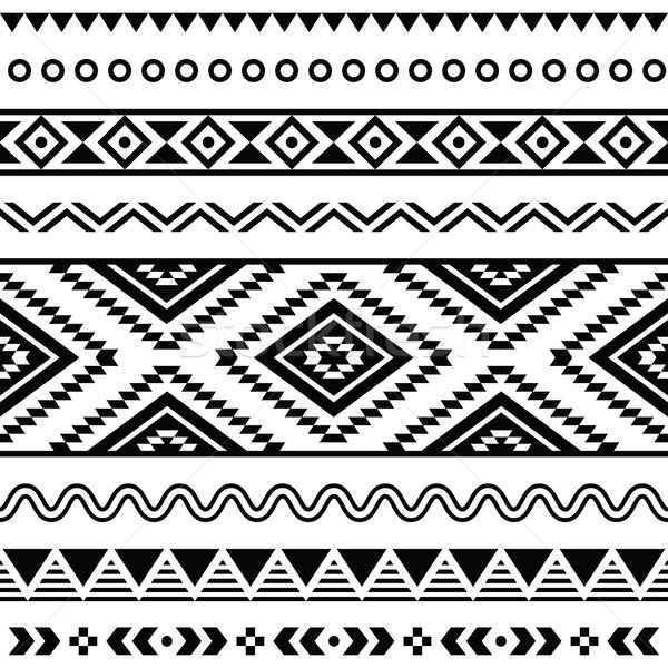 tribal muster schwarz wei hintergrund vektor vektor grafiken agnieszka murphy. Black Bedroom Furniture Sets. Home Design Ideas