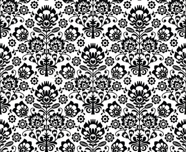Seamless floral polish pattern - ethnic background in black and white Stock photo © RedKoala