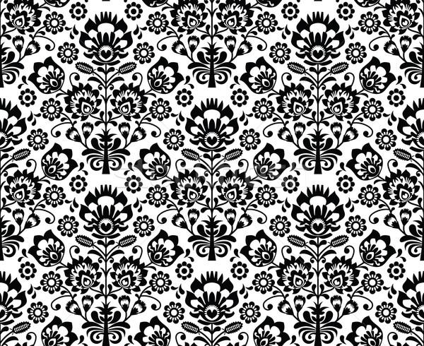 Sin costura floral patrón étnicas blanco negro repetitivo Foto stock © RedKoala