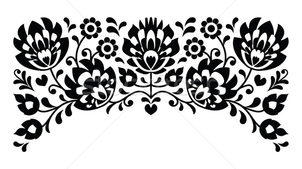 Polish floral folk embroidery black and white pattern Stock photo © RedKoala