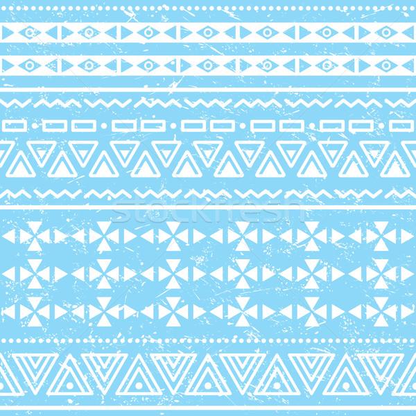 Tribal geometric aztec pattern - grunge, retro style Stock photo © RedKoala