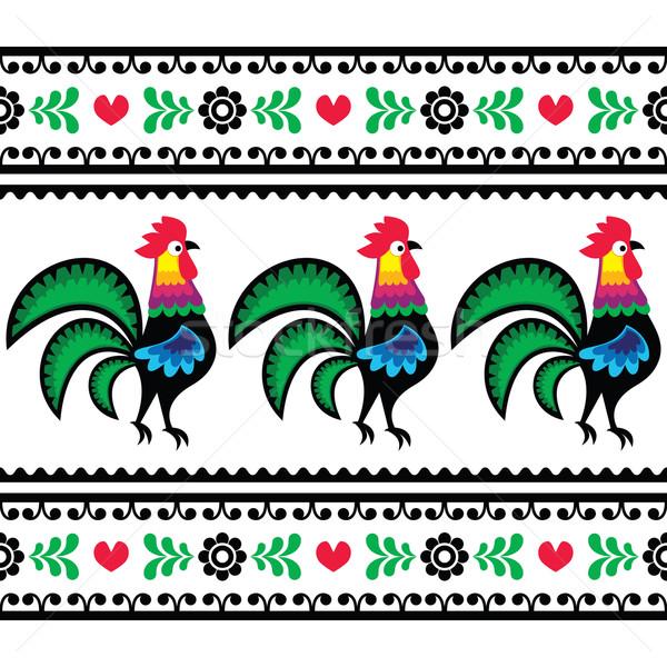 Seamless Polish folk art pattern with roosters - Wzory lowickie, Wycinanka  Stock photo © RedKoala