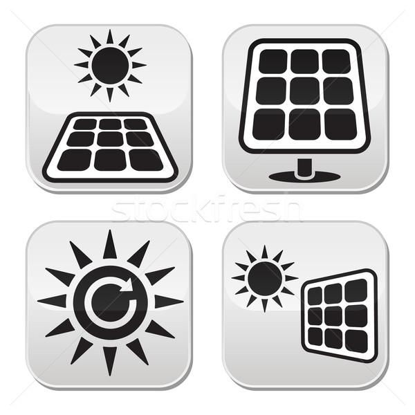 Solar panels, solar energy white buttons set Stock photo © RedKoala
