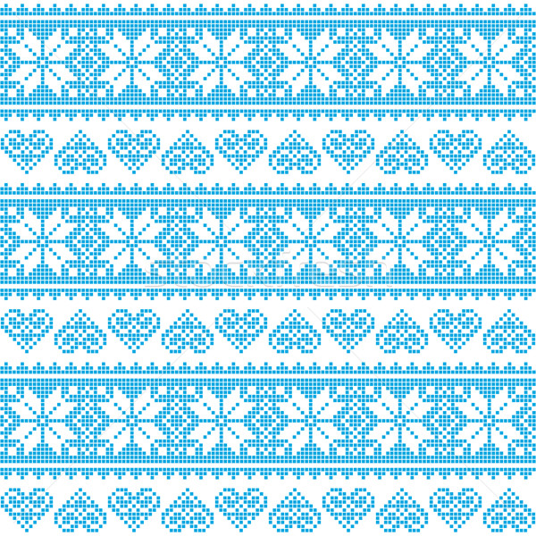 Winter, Christmas seamless pixelated blue pattern with hearts Stock photo © RedKoala