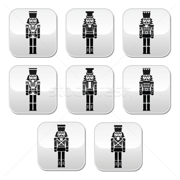 Christmas nutcracker - soldier figurine grey buttons set Stock photo © RedKoala