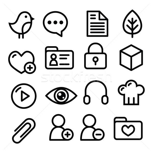 Stockfoto: Website · menu · navigatie · lijn · iconen · social · media