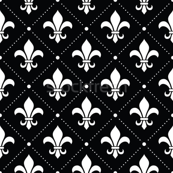 フランス語 ダマスク織 白 パターン 黒 ベクトル ストックフォト © RedKoala