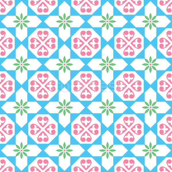 Spanish tiles pattern, Moroccan and Portuguese tile seamless design- Azulejo   Stock photo © RedKoala