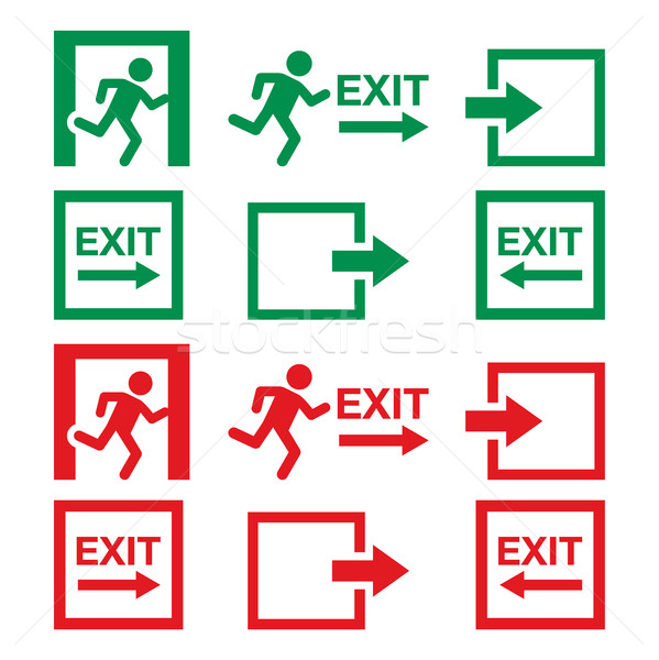 Emergency exit sign, warning icons vector set in green and red Stock photo © RedKoala