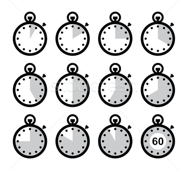 Time, clock, stopwatch vector icons set Stock photo © RedKoala