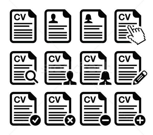 Cv önéletrajz vektor ikon szett foglalkoztatás emberi Stock fotó © RedKoala