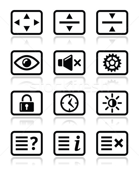 Computer tv monitor screen icons set Stock photo © RedKoala