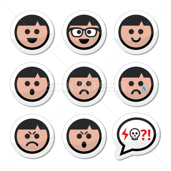Man, boy faces, avatar vector icons set Stock photo © RedKoala