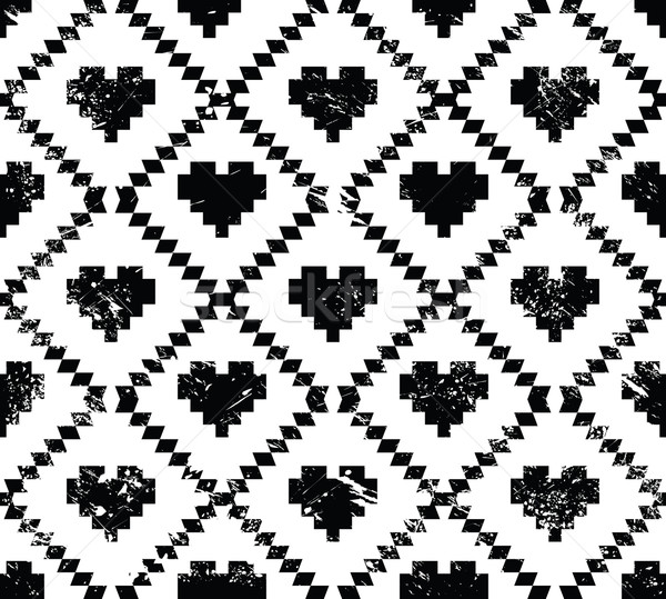 Seamless aztec tribal pattern with hearts - grunge, retro style Stock photo © RedKoala