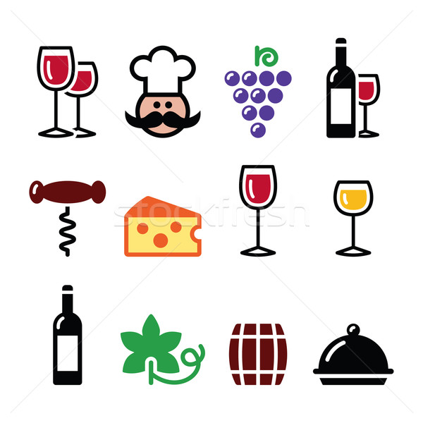 Wine colourful icons set - glass, bottle, restaurant, food Stock photo © RedKoala